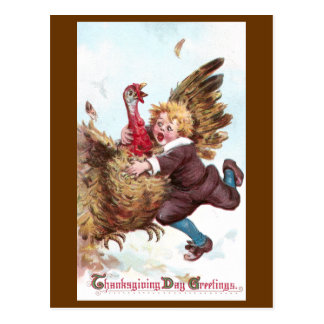 Frantically Flapping Turkey Vintage Thanksgiving Postcard