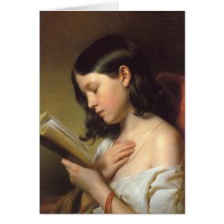 Franz Eybl - Lesendes Mädchen (Reading Girl), 1850 Card