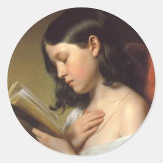 Franz Eybl - Lesendes Mädchen (Reading Girl), 1850 Classic Round Sticker