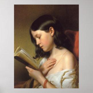Franz Eybl - Lesendes Mädchen (Reading Girl), 1850 Poster