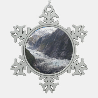Franz Josef Glacier, New Zealand Snowflake Pewter Christmas Ornament