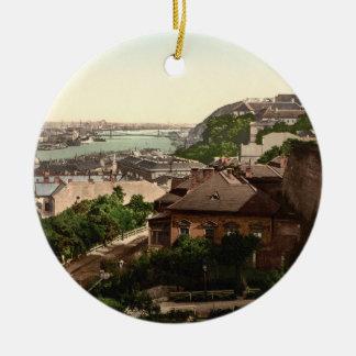 Franz Josephs Bridge, Budapest, Hungary Double-Sided Ceramic Round Christmas Ornament
