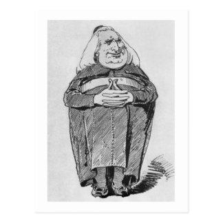 Franz Liszt (1811-86) as abbot, caricature from 'B Postcard
