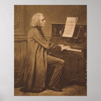 Franz Liszt en el piano Póster