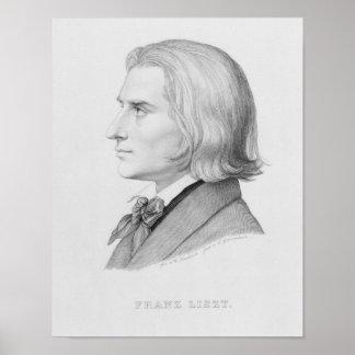 Franz Liszt, engraved by Gonzenbach Poster