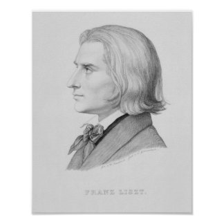 Franz Liszt, grabado por Gonzenbach Póster