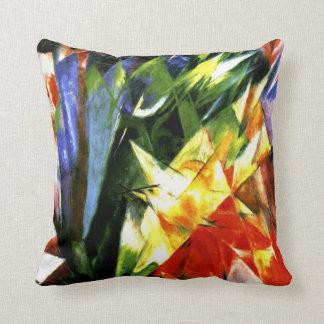 Franz Marc: Birds - Cubism art by Franz Marc Throw Pillow