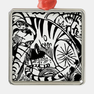 Franz Marc - Black and White Tiger - Abstract Art Metal Ornament