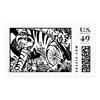 Franz Marc - Black and White Tiger - Abstract Art Postage
