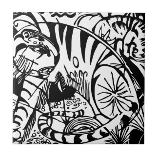 Franz Marc - Black and White Tiger - Abstract Art Tile