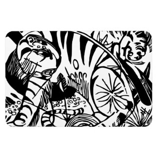 Franz Marc - Black and White Tiger Rectangular Magnet