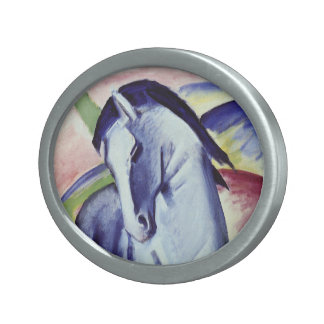 Franz Marc Blue Horse Vintage Fine Art Painting Oval Belt Buckle