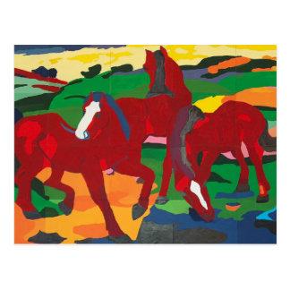 Franz Marc - caballos rojos Postal