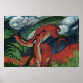 Franz Marc - ciervo común II 1912 cervatillos del  Posters