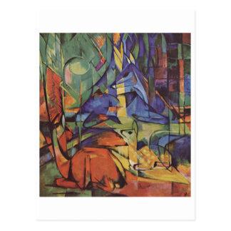 Franz Marc - ciervo en cervatillo de la luna 1913- Tarjetas Postales
