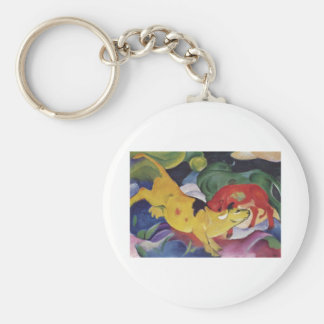 Franz Marc - Cows Red Green Yellow 1912 Cow Canvas Keychain