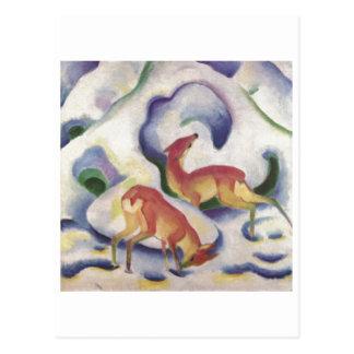 Franz Marc - Deer in Snow 1911 Canvas Fawn Doe Postcard