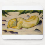 Franz Marc - Dog Lying in Snow 1910-11 Puppy White Mouse Pad