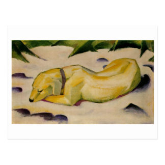 Franz Marc - Dog Lying in Snow 1910-11 Puppy White Postcard