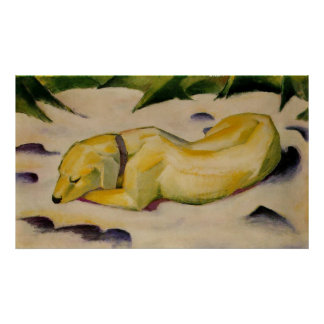 Franz Marc - Dog Lying in Snow 1910-11 Puppy White Poster