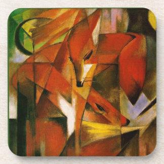 Franz Marc el arte Expressionistic de los zorros Posavasos De Bebidas