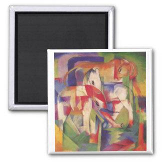 Franz Marc - Elefant, Pferd, Rind, Winter 2 Inch Square Magnet