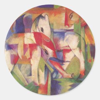 Franz Marc - Elefant, Pferd, Rind, Winter Classic Round Sticker