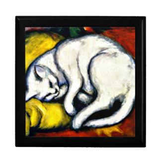 Franz Marc - gato blanco. Pintura 1912 de Franz Ma Joyero Cuadrado Grande