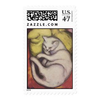 Franz Marc - gato en un amortiguador amarillo Sellos Postales
