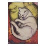 Franz Marc - gato en un amortiguador amarillo Felicitacion