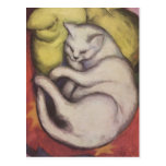 Franz Marc - gato en un amortiguador amarillo Tarjetas Postales
