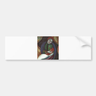 Franz Marc - Girl w/ Cat 1912 red kitty Female Kat Bumper Sticker