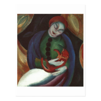 Franz Marc - Girl w/ Cat 1912 red kitty Female Kat Postcard