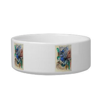 Franz Marc - House in abstract landscape Cat Food Bowls