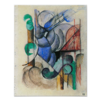 Franz Marc - House in abstract landscape Poster