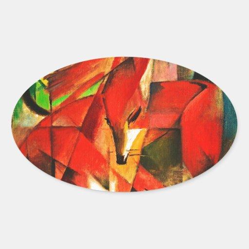 Franz Marc la pintura del arte moderno del Fox Pegatina Ovalada