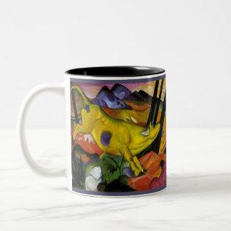 Franz Marc - la vaca amarilla - arte del expresion Taza Dos Tonos