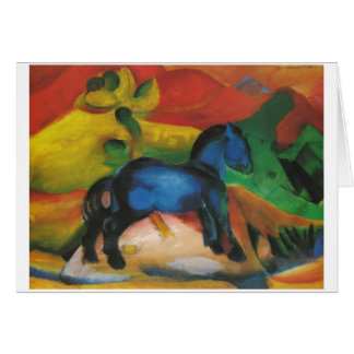 Franz Marc - Little Blue Horse 1912 Oil Canvas Greeting Cards