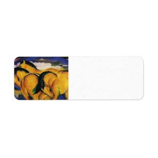 Franz Marc- Little Yellow Horses Label