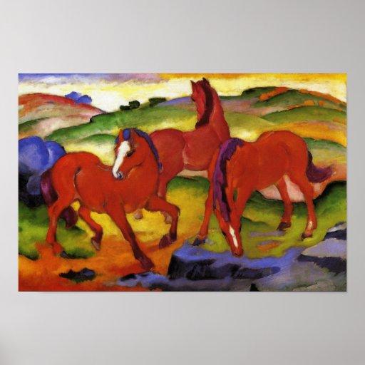 Franz Marc que pasta el poster de los caballos