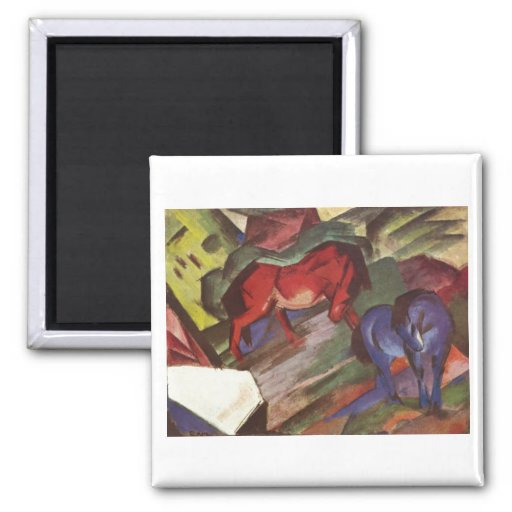 Franz Marc - Red & Blue Horse 1912 Paper Horses Fridge Magnets