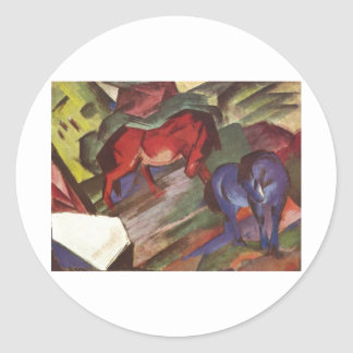 Franz Marc - Red & Blue Horse 1912 Paper Horses Round Stickers