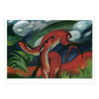 Franz Marc - Red Deer II 1912 Forest Animal fawn Post Card