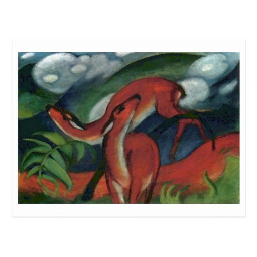 Franz Marc - Red Deer II 1912 Forest Animal fawn Postcard
