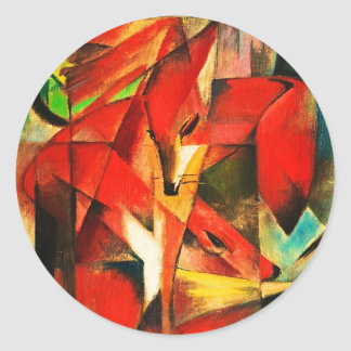 Franz Marc The Foxes Red Fox Modern Art Painting Classic Round Sticker