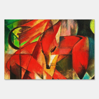 Franz Marc The Foxes Red Fox Modern Art Painting Lawn Sign