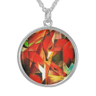 Franz Marc The Foxes Red Fox Modern Art Painting Sterling Silver Necklace