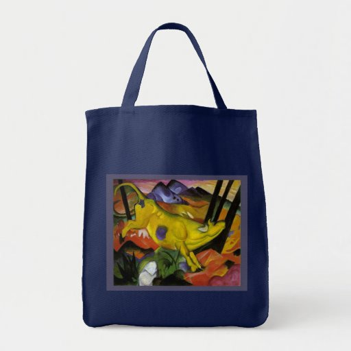 Franz Marc - The Yellow Cow - Expressionist Art Canvas Bags