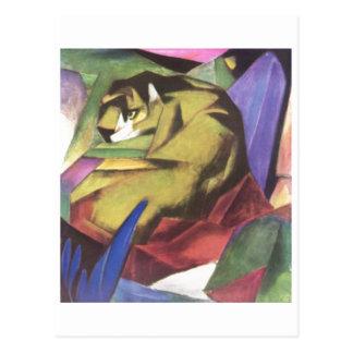 Franz Marc - Tiger 1912 Cat Jungle Canvas Yellow Postcard