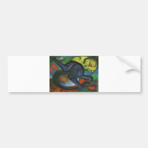 Franz Marc - Two Cats Blue & Yellow 1912 kitty oil Bumper Sticker